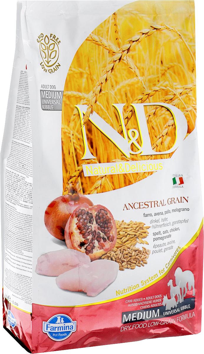Корм сухой для взрослых собак Farmina N&D, низкозерновой, с курицей и гранатом, 2,5 кг0120710Сухой корм Farmina N&D является низкозерновым и сбалансированным питанием для взрослых собак всех пород. Изделие имеет высокое содержание витаминов и питательных веществ. Сухой корм содержит натуральные компоненты, которые необходимы для полноценного и здорового питания домашних животных.Товар сертифицирован.