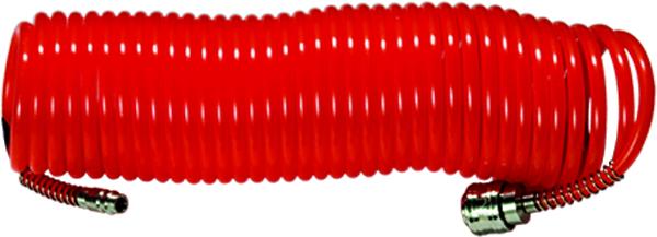 Шланг спиральный воздушный Matrix с быстросъемными соединениями, 5 м57002Шланг спиральный воздушный изготовлен из нейлона, стойкого к агрессивным средам. Оснащен быстросъемными соединениями с антикоррозийным покрытием. Используется для соединения компрессора с различными насадками.