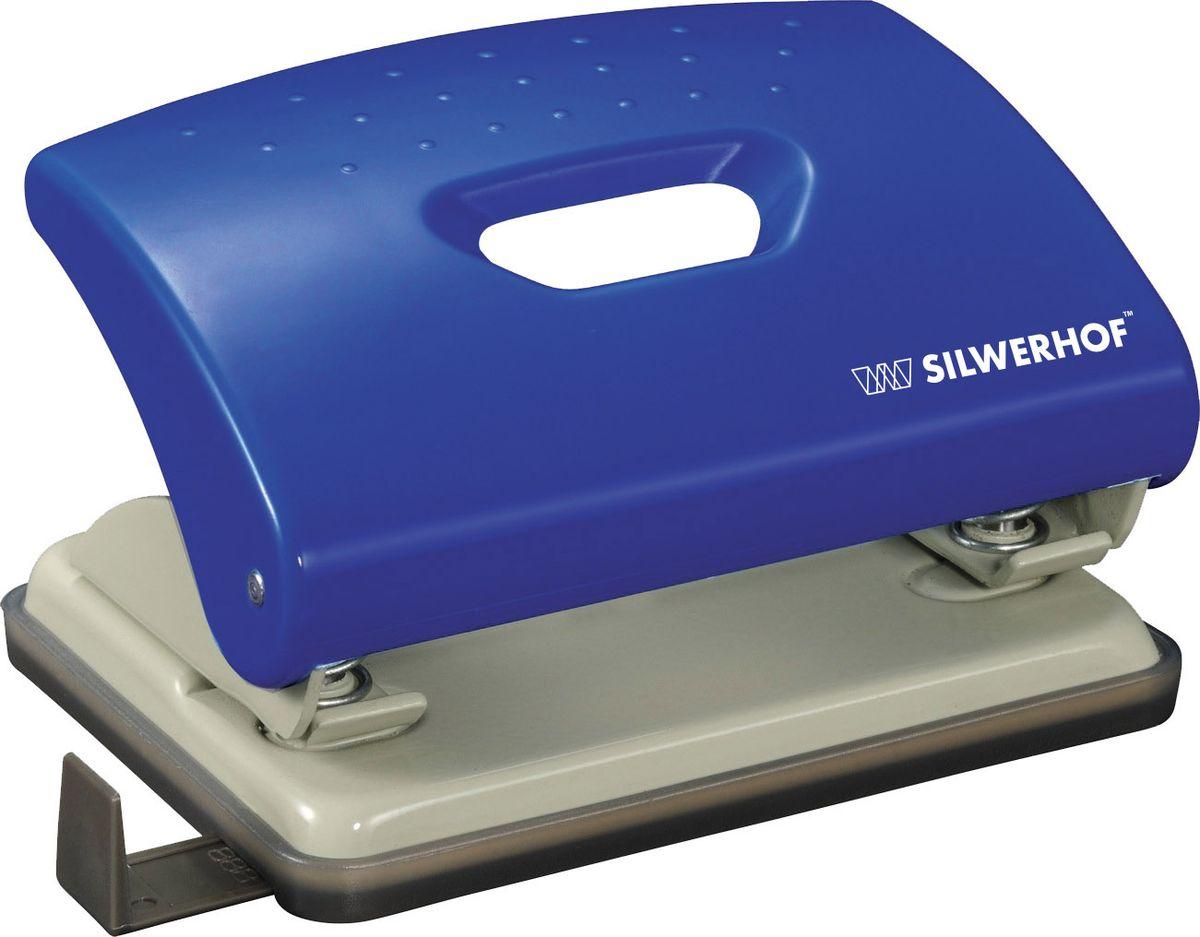 Silwerhof Дырокол Primer цвет синий 16 л391034-02Надежное металлическое основание. Нажимная часть из ударопрочного пластика.Эргономичная вставка на корпусе. Пробивной механизм из легированной стали. Пластиковый поддон для сбора конфетти с функцией частичного открывания. Выдвижная форматная линейка. Пробивная мощность 16 листов бумаги 80г/м