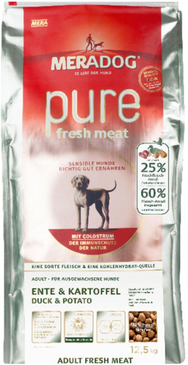 Корм сухой Meradog Рure Fresh Meat Ente & Kartoffel, для собак, со свежей уткой и картофелем, 300 г53476Полнорационный беззерновой корм для собак и концепция защиты от MERADOG: антиоксиданты (витамин С, Е, бета-каротин и селен) для оптимальной защиты клеток. Натуральные жирные кислоты Омега-3 и Омега-6 (масло лосося, подсолнечное масло, масло льняных семян), а также хелат цинка для кожи и шерсти. Пребиотический инулин для стабильной кишечной флоры и надежного пищеварения. Идеальный корм при многих видах пищевых аллергий: только один источник углеводов и только один вид мяса. Молозиво, маннанолигосахариды и бета-глюканы для оптимальной иммунной защиты.