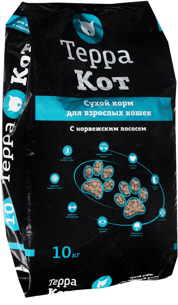 Корм сухой Терра Кот, для взрослых кошек, с норвежским лососем, 10 кг00-00000460Сухой корм Терра Кот - это полноценное сбалансированное питание для взрослых кошек, разработанное с использованием современных технологий. В состав корма входят все необходимые питательные вещества, включая витамины. Корм легко усваивается и имеет прекрасный вкус. Основные питательные вещества гарантируют сильные кости, превосходные мускулы, здоровую кожу и шерсть. Порадуйте своего любимца вкусным и полезным продуктом. Товар сертифицирован.