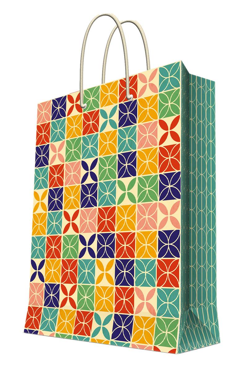 Пакет подарочный Magic Home Геометрический узор, 26 х 32,4 х 12,7 см44206Подарочный пакет Magic Home, изготовленный из плотной бумаги, станет незаменимым дополнением к выбранному подарку. Дно изделия укреплено картоном, который позволяет сохранить форму пакета и исключает возможность деформации дна под тяжестью подарка. Пакет выполнен с глянцевой ламинацией, что придает ему прочность, а изображению - яркость и насыщенность цветов. Для удобной переноски имеются две ручки в виде шнурков. Подарок, преподнесенный в оригинальной упаковке, всегда будет самым эффектным и запоминающимся. Окружите близких людей вниманием и заботой, вручив презент в нарядном, праздничном оформлении. Плотность бумаги: 140 г/м2.