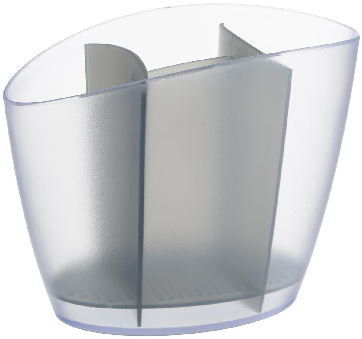Сушилка для столовых приборов Tescoma Clean Kit, цвет: серый, 19,5 х 11 х 15,5 см900640.43Сушилка Tescoma Clean Kit, выполненная из высококачественного пластика, прекрасно подходит для столовых приборов. Для легкости очищения снабжена вынимающейся подставкой для стока воды. Изделие хорошо впишется в интерьер, не займет много места, а столовые приборы будут всегда под рукой. Можно мыть в посудомоечной машине. Размер изделия: 19,5 х 11 х 15,5 см.