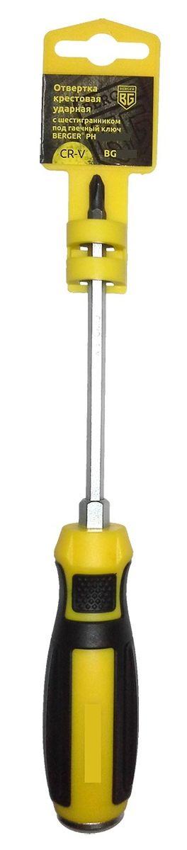 Отвертка крестовая Berger, ударная, с шестигранником под гаечный ключ, PH2 x 125 мм. BG1038BG1038Отвертка на пластиковом держателе. Изготовлена из прочной и качественной хром-ванадиевой стали (CR-V). Благодаря особенностям конструкции можно сокращать процесс работы, ударяя по тыловой части инструмента молотком. Используется как ударный инструмент. Усиленный стержень позволяет откручивать заржавевшие крепежные изделия.