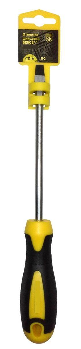 Отвертка шлицевая Berger, 6,5 x 100 мм. BG1043BG1043Отвертка - крестовая на пластиковом держателе. Материал: хром - ванадиевая сталь (CR-V)