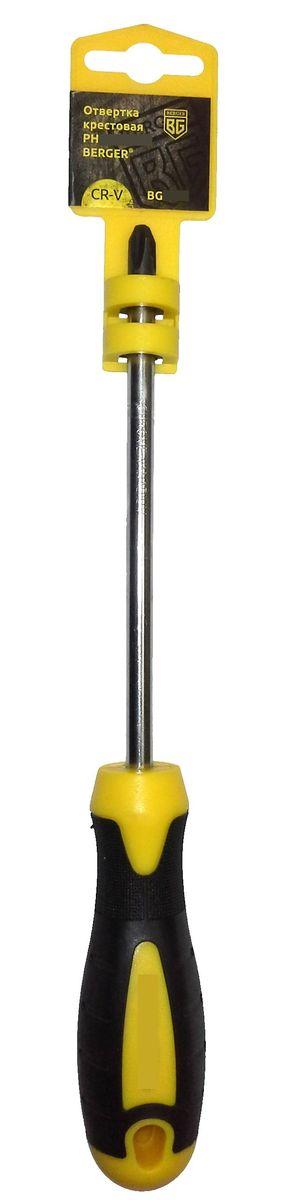 Отвертка крестовая Berger, PH2 x 38 мм. BG1050CA-3505Отвертка - крестовая на пластиковом держателе. Материал: хром - ванадиевая сталь (CR-V)