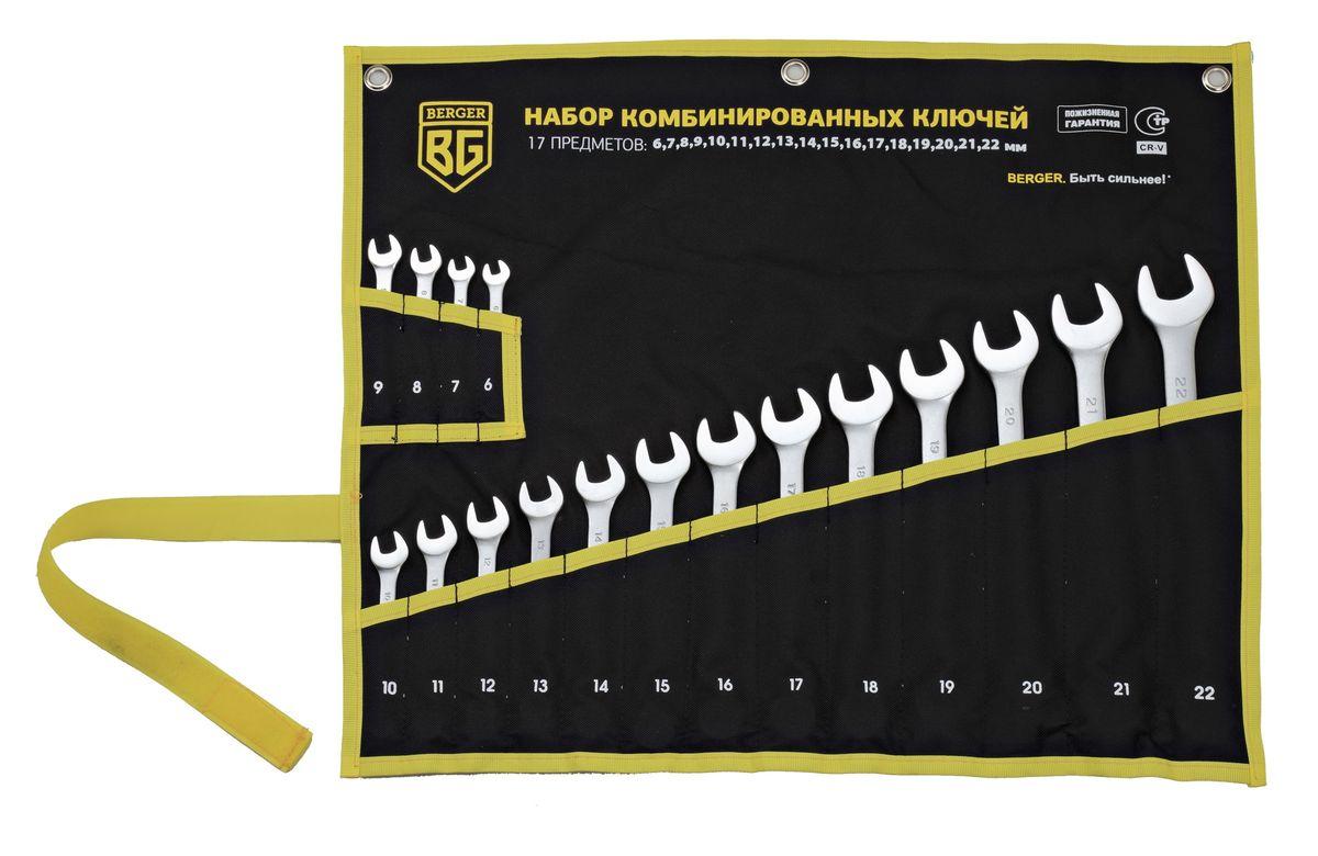 Набор ключей Berger, комбинированных, 17 предметов . BG1145CA-3505Ключи комбинированные 17 шт. 6, 7, 8, 9, 10, 11, 12, 13, 14, 15, 16, 17, 18, 19, 20, 21, 22 мм
