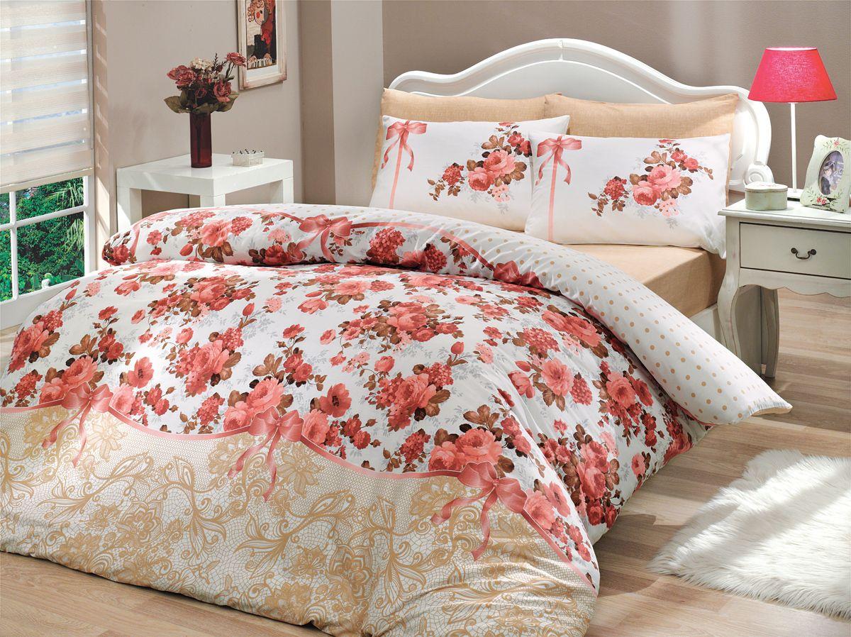 Комплект белья Hobby Home Collection Felicita, 2-спальный, наволочки 70x70, цвет: розовый10503Комплект белья Hobby Home Collection состоит из простыни, пододеяльника и 4 наволочек. Белье выполнено из ранфорса - это ткань из 100% натурального хлопка, которая легко стирается, практичнее льна, подстраивается под температуру воздуха - зимой на таком белье тепло, летом - прохладно. Мягкость и нежность материала создает чувство комфорта и защищенности. У хлопка хорошая проводимость тепла, поэтому постельное белье из него может надолго оставаться свежим. Постельное белье с оригинальными дизайнами станет отличным выбором для людей, стремящихся всегда быть стильными.
