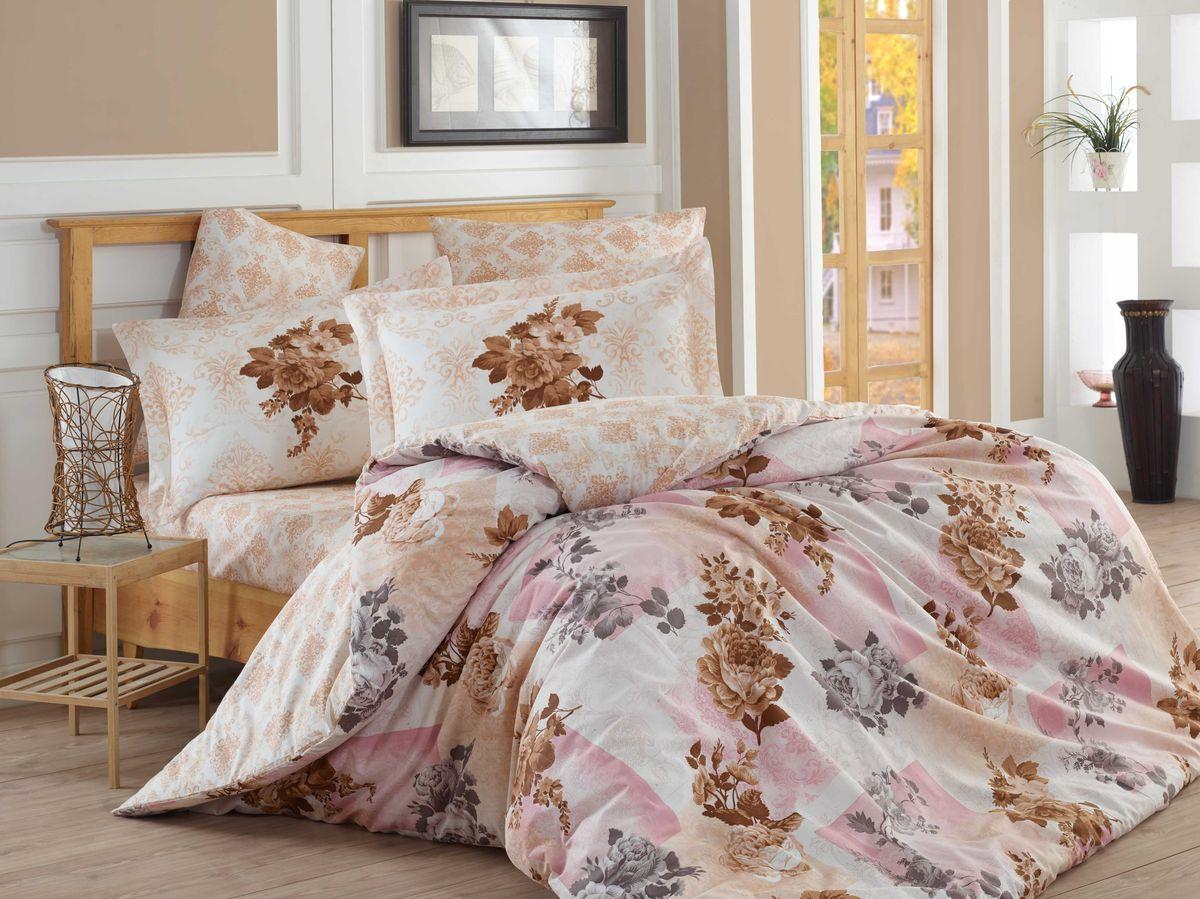 Комплект белья Hobby Home Collection Elvira, евро, наволочки 50x70, 70x70, цвет: светло-розовый1501001115Комплект белья Hobby Home Collection состоит из простыни, пододеяльника и 4 наволочек. Белье выполнено из поплина - это ткань из 100% натурального хлопка. По легенде этот материал впервые произвели во французской резиденции Папы Римского, городе Авиньон. За это ткань назвали поплином, что означает папский. По своим характеристикам она напоминает бязь, однако, на ощупь гораздо более мягкая и гладкая. Прекрасные потребительские качества обеспечили поплину популярность у розничного покупателя: ткань не выцветает и не мнется, ее можно не гладить вообще; не линяет и не деформируется при стирке до сорока градусов; на сто процентов состоит из натуральных хлопковых волокон.