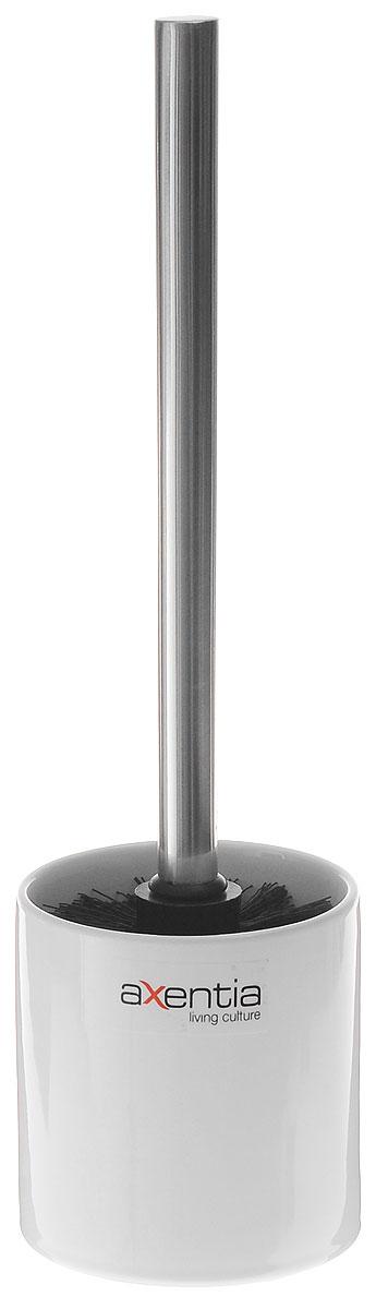 Ершик для унитаза Axentia Bianco, с подставкой, высота 35 см96515412Ершик для унитаза Axentia имеет ручку из нержавеющей стали и белую щетку, с жестким густым ворсом. Подставка, изготовленная из натуральной и элегантной керамики белого цвета. Высококачественные материалы позволят наслаждаться покупкой долгие годы. Изделие приятно дополнит интерьер вашей туалетной комнаты.