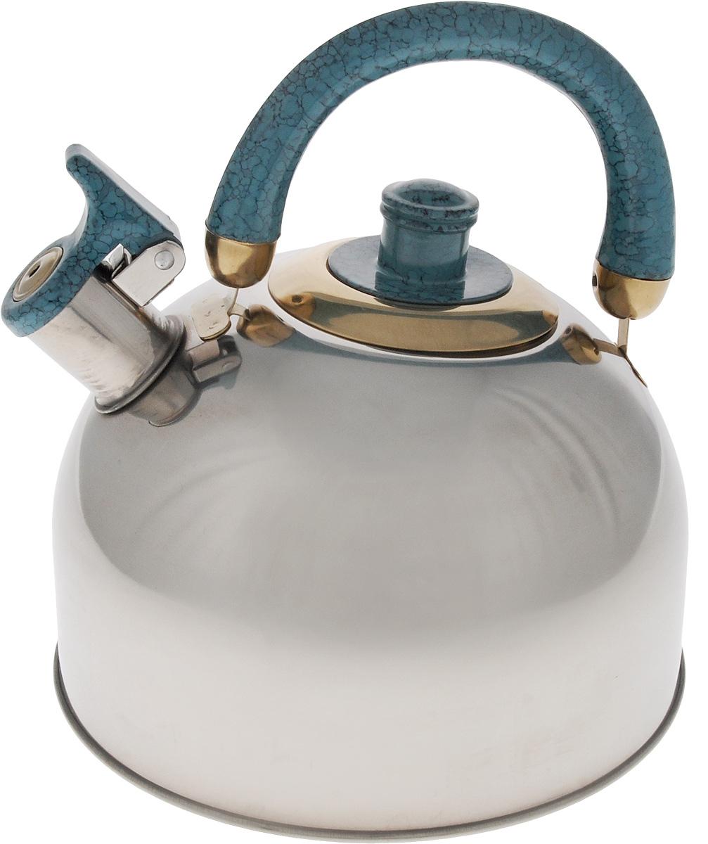 Чайник Mayer & Boch, со свистком, цвет: стальной, бирюзовый, золотистый, 3,5 л. 10691069_синий/1069АЧайник Mayer & Boch изготовлен из высококачественной нержавеющей стали, что делает его весьма гигиеничным и устойчивым к износу при длительном использовании. Утолщенное дно обеспечивает равномерный и быстрый нагрев, поэтому вода закипает гораздо быстрее, чем в обычных чайниках. Чайник оснащен откидным свистком, звуковой сигнал которого подскажет, когда закипит вода. Подвижная ручка из бакелита дает дополнительное удобство при разлитии напитка. Чайник Mayer & Boch идеально впишется в интерьер любой кухни и станет замечательным подарком к любому случаю. Подходит для газовых, стеклокерамических, галогеновых и электрических плит. Не подходит для индукционных. Можно мыть в посудомоечной машине. Высота чайника (без учета ручки и крышки): 13 см. Высота чайника (с учетом ручки и крышки): 21,5 см. Диаметр чайника (по верхнему краю): 8,5 см.