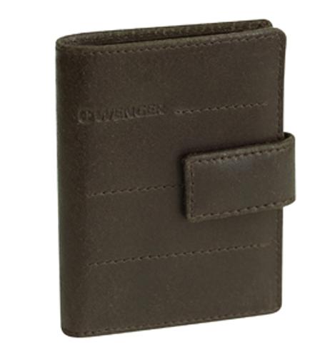 Визитница мужская Wenger, цвет: темно-коричневый. W01-29BRA16-11154_711Визитница Wenger выполнена из натуральной кожи и оформлена тиснением с названием бренда. Изделие закрывается хлястиком на кнопку. Внутри расположено специальное отделение, которое удобно использовать как для размещения банкнот, так и для хранения документов, 6 отдельных карманов для хранения пластиковых карт и 12 дополнительных прозрачных отсеков для размещения карточек и визиток.