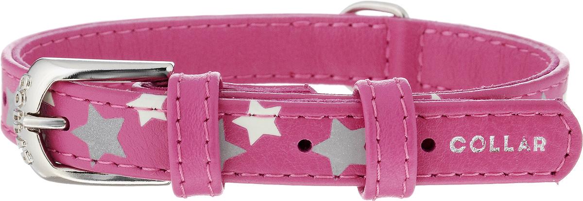 Ошейник для собак CoLLaR Glamour Звездочка, цвет: розовый, ширина 1,5 см, обхват шеи 27-36 см35857Ошейник для собак CoLLaR Glamour Звездочка изготовлен из натуральной кожи и декорирован оригинальным рисунком. Специальная технология печати по коже позволяет наносить на ошейник устойчивый рисунок, обладающий одновременно светоотражающим и светонакопительным эффектом. Ошейник устойчив к влажности и перепадам температур. Сверхпрочные нити, крепкие металлические элементы делают ошейник надежным и долговечным. Обхват ошейника регулируется при помощи пряжки. Ошейник оснащен металлическим кольцом для крепления поводка. Изделие отличается высоким качеством, удобством и универсальностью. Минимальный обхват шеи: 27 см. Максимальный обхват шеи: 36 см. Ширина ошейника: 1,5 см.