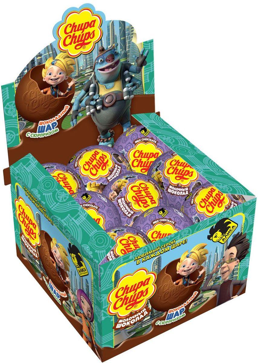 Chupa Chups Алиса молочный шоколад, 18 шт по 20 г0120710Внутри каждого шоколадного шара Чупа Чупс ты найдёшь новую игрушку, а снаружи - именно такой шоколад, как ты любишь. Какая игрушка попадётся тебе в этот раз??? Соберите всю коллекцию и обменивайтесь с друзьями!