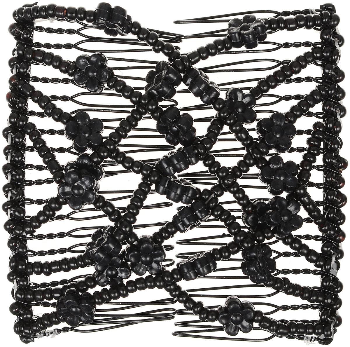 EZ-Combs Заколка Изи-Комбс, одинарная, цвет: черный. ЗИО_цветочки ЗИО_черный, цветочки