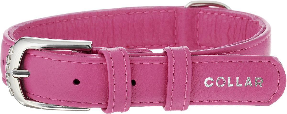 Ошейник для собак CoLLaR Glamour, цвет: розовый, ширина 2 см, обхват шеи 30-39 см32937Ошейник CoLLaR Glamour изготовлен из натуральной кожи, устойчивой к влажности и перепадам температур. Клеевой слой, сверхпрочные нити, крепкие металлические элементы делают ошейник надежным и долговечным. Изделие отличается высоким качеством, удобством и универсальностью. Размер ошейника регулируется при помощи металлической пряжки. Имеется металлическое кольцо для крепления поводка. Ваша собака тоже хочет выглядеть стильно! Такой модный ошейник станет для питомца отличным украшением и выделит его среди остальных животных. Минимальный обхват шеи: 30 см. Максимальный обхват шеи: 39 см. Ширина: 2 см.