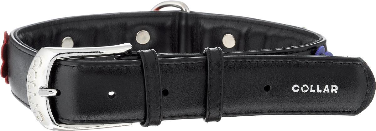 Ошейник для собак CoLLaR Glamour Аппликация, цвет: черный, ширина 3,5 см, обхват шеи 46-60 см35041Ошейник CoLLaR Glamour изготовлен из натуральной кожи, устойчивой к влажности и перепадам температур. Клеевой слой, сверхпрочные нити, крепкие металлические элементы делают ошейник надежным и долговечным. Изделие декорировано аппликациями в виде цветочков. Размер ошейника регулируется при помощи металлической пряжки. Имеется металлическое кольцо для крепления поводка. Ваша собака тоже хочет выглядеть стильно! Такой модный ошейник станет для питомца отличным украшением и выделит его среди остальных животных. Изделие отличается высоким качеством, удобством и универсальностью. Обхват шеи: 46-60 см. Ширина: 3,5 см.