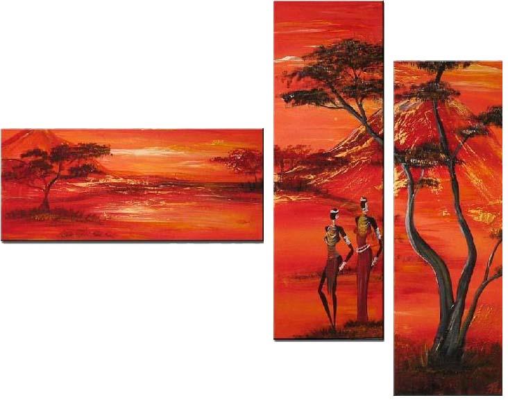 Картина Арт78 Африканцы, модульная, 180 см х 120 см. арт780016U210DFНичто так не облагораживает интерьер, как хорошая картина. Особенную атмосферу создаст крупное художественное полотно, размеры которого более метра. Подобные произведения искусства, выполненные в традиционной технике (холст, масляные краски), чрезвычайно капризны: требуют сложного ухода, регулярной реставрации, особого микроклимата – поэтому они просто не могут существовать в условиях обычной городской квартиры или загородного коттеджа, и требуют больших затрат. Данное полотно идеально приспособлено для создания изысканной обстановки именно у Вас. Это полотно создано с использованием как традиционных натуральных материалов (холст, подрамник - сосна), так и материалов нового поколения – краски, фактурный гель (придающий картине внешний вид масляной живописи, и защищающий ее от внешнего воздействия). Благодаря такой композиции, картина выглядит абсолютно естественно, и отличить ее от традиционной техники может только специалист. Но при этом изображение отлично смотрится с любого расстояния, под любым углом и при любом освещении. Картина не выцветает, хорошо переносит даже повышенный уровень влажности. При необходимости ее можно протереть сухой салфеткой из мягкой ткани.