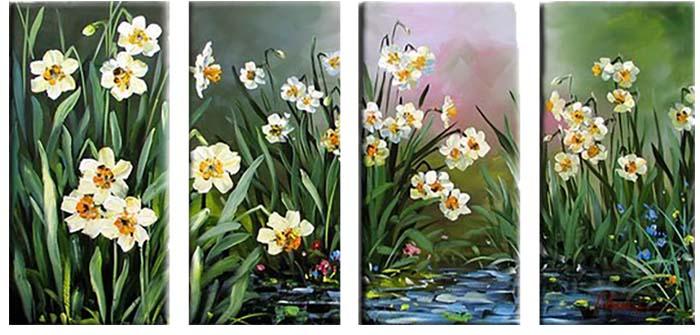 Картина Арт78 Нарциссы, модульная, 125 см х 90 см. арт780018-2арт780018-2Ничто так не облагораживает интерьер, как хорошая картина. Особенную атмосферу создаст крупное художественное полотно, размеры которого более метра. Подобные произведения искусства, выполненные в традиционной технике (холст, масляные краски), чрезвычайно капризны: требуют сложного ухода, регулярной реставрации, особого микроклимата – поэтому они просто не могут существовать в условиях обычной городской квартиры или загородного коттеджа, и требуют больших затрат. Данное полотно идеально приспособлено для создания изысканной обстановки именно у Вас. Это полотно создано с использованием как традиционных натуральных материалов (холст, подрамник - сосна), так и материалов нового поколения – краски, фактурный гель (придающий картине внешний вид масляной живописи, и защищающий ее от внешнего воздействия). Благодаря такой композиции, картина выглядит абсолютно естественно, и отличить ее от традиционной техники может только специалист. Но при этом изображение отлично смотрится с любого...