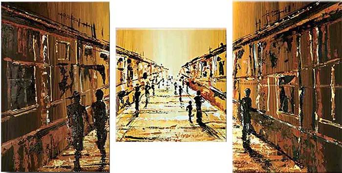 Картина Арт78 Улица, модульная, 100 см х 60 см. арт780025-3UP210DFНичто так не облагораживает интерьер, как хорошая картина. Особенную атмосферу создаст крупное художественное полотно, размеры которого более метра. Подобные произведения искусства, выполненные в традиционной технике (холст, масляные краски), чрезвычайно капризны: требуют сложного ухода, регулярной реставрации, особого микроклимата – поэтому они просто не могут существовать в условиях обычной городской квартиры или загородного коттеджа, и требуют больших затрат. Данное полотно идеально приспособлено для создания изысканной обстановки именно у Вас. Это полотно создано с использованием как традиционных натуральных материалов (холст, подрамник - сосна), так и материалов нового поколения – краски, фактурный гель (придающий картине внешний вид масляной живописи, и защищающий ее от внешнего воздействия). Благодаря такой композиции, картина выглядит абсолютно естественно, и отличить ее от традиционной техники может только специалист. Но при этом изображение отлично смотрится с любого расстояния, под любым углом и при любом освещении. Картина не выцветает, хорошо переносит даже повышенный уровень влажности. При необходимости ее можно протереть сухой салфеткой из мягкой ткани.