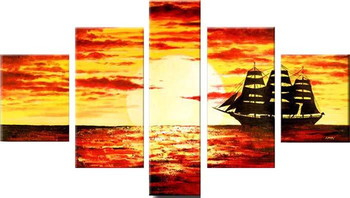 Картина Арт78 Морской закат, модульная, 200 см х 120 см. арт780031арт780031Ничто так не облагораживает интерьер, как хорошая картина. Особенную атмосферу создаст крупное художественное полотно, размеры которого более метра. Подобные произведения искусства, выполненные в традиционной технике (холст, масляные краски), чрезвычайно капризны: требуют сложного ухода, регулярной реставрации, особого микроклимата – поэтому они просто не могут существовать в условиях обычной городской квартиры или загородного коттеджа, и требуют больших затрат. Данное полотно идеально приспособлено для создания изысканной обстановки именно у Вас. Это полотно создано с использованием как традиционных натуральных материалов (холст, подрамник - сосна), так и материалов нового поколения – краски, фактурный гель (придающий картине внешний вид масляной живописи, и защищающий ее от внешнего воздействия). Благодаря такой композиции, картина выглядит абсолютно естественно, и отличить ее от традиционной техники может только специалист. Но при этом изображение отлично смотрится с любого...