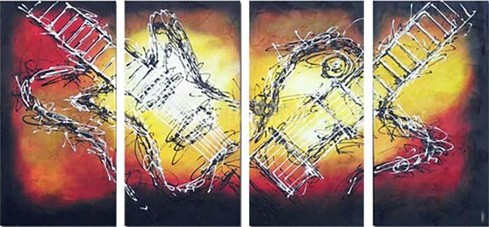 Картина Арт78 Гитары, модульная, 200 см х 100 см. арт780039арт780039Ничто так не облагораживает интерьер, как хорошая картина. Особенную атмосферу создаст крупное художественное полотно, размеры которого более метра. Подобные произведения искусства, выполненные в традиционной технике (холст, масляные краски), чрезвычайно капризны: требуют сложного ухода, регулярной реставрации, особого микроклимата – поэтому они просто не могут существовать в условиях обычной городской квартиры или загородного коттеджа, и требуют больших затрат. Данное полотно идеально приспособлено для создания изысканной обстановки именно у Вас. Это полотно создано с использованием как традиционных натуральных материалов (холст, подрамник - сосна), так и материалов нового поколения – краски, фактурный гель (придающий картине внешний вид масляной живописи, и защищающий ее от внешнего воздействия). Благодаря такой композиции, картина выглядит абсолютно естественно, и отличить ее от традиционной техники может только специалист. Но при этом изображение отлично смотрится с любого...
