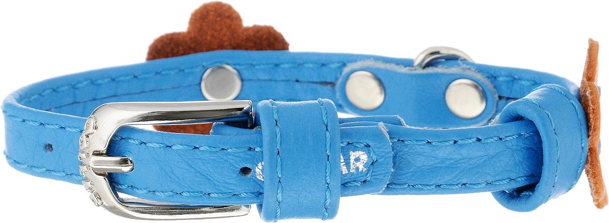 Ошейник для собак CoLLaR Glamour Аппликация, цвет: голубой, оранжевый, ширина 9 мм, обхват шеи 18-21 см34982Ошейник CoLLaR Glamour Аппликация изготовлен из натуральной кожи, устойчивой к влажности и перепадам температур. Клеевой слой, сверхпрочные нити, крепкие металлические элементы делают ошейник надежным и долговечным. Изделие отличается высоким качеством, удобством и универсальностью. Размер ошейника регулируется при помощи металлической пряжки. Имеется металлическое кольцо для крепления поводка. Ваша собака тоже хочет выглядеть стильно! Модный ошейник с аппликацией в виде цветов станет для питомца отличным украшением и выделит его среди остальных животных. Минимальный обхват шеи: 18 см. Максимальный обхват шеи: 21 см. Ширина: 9 мм.