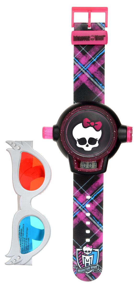 Monster High Наручные часы с 3D проекторомmhrj26Экстравагантные детские наручные часы Monster High имеют встроенный проектор и способны проецировать картинку на ровную поверхность. Чтобы включить проектор, необходимо просто нажать и удерживать кнопку на боковой стороне часов. С помощью специальных очков, которые идут в комплекте, вы сможете увидеть изображения в 3D измерении и устроить киносеанс прямо у себя дома. Часы влагоустойчивы. Корпус и браслет выполнены из пластика, ремешок регулируется по длине и украшен изображениями героев мультфильма. Циферблат защищен от повреждений прочным пластиковым стеклом с питанием от химических источников тока. Рекомендуемый возраст: от 3 лет. Для работы часов необходима 1 батарейка напряжением 1,5 V типа LR41 (AG3) (товар комплектуется демонстрационной).