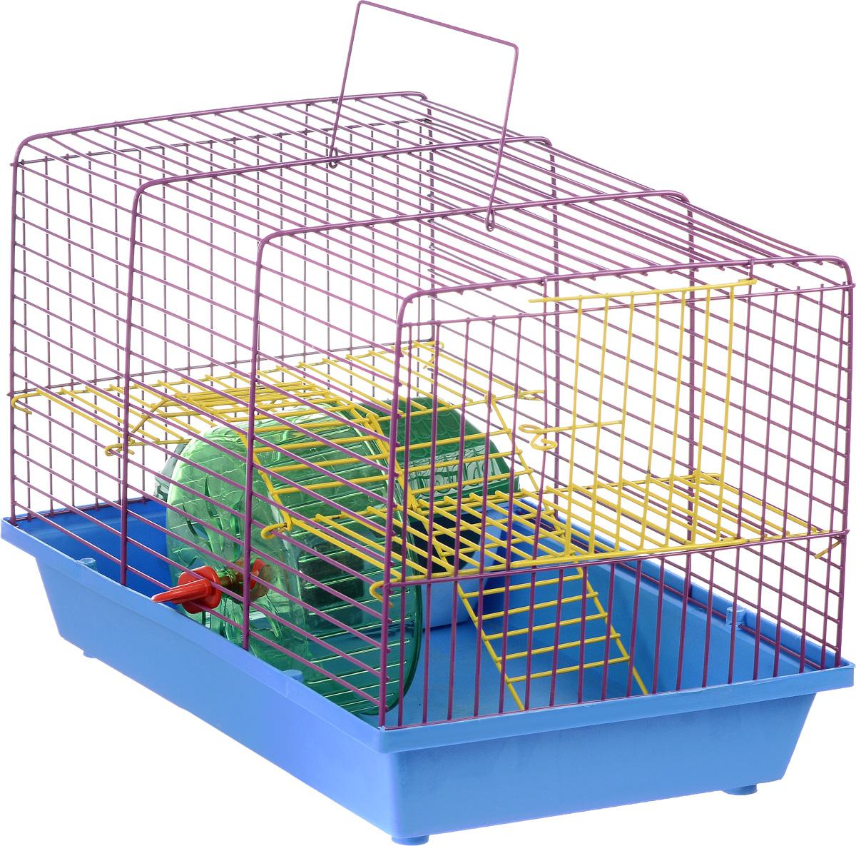 Клетка для грызунов Зоомарк Венеция, 2-этажная, цвет: голубой поддон, фиолетовая решетка, желтый этаж, 36 х 23 х 24 см145к_голубой, фиолетовый, желтыйКлетка Венеция, выполненная из полипропилена и металла, подходит для мелких грызунов. Изделие двухэтажное, оборудовано колесом для подвижных игр и пластиковым домиком. Клетка имеет яркий поддон, удобна в использовании и легко чистится. Сверху имеется ручка для переноски. Такая клетка станет уединенным личным пространством и уютным домиком для маленького грызуна.