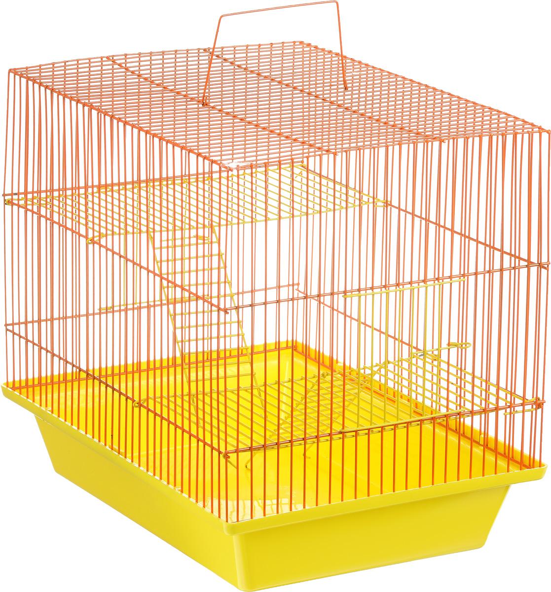 Клетка для грызунов ЗооМарк Гризли, 3-этажная, цвет: желтый поддон, оранжевая решетка, желтые этажи, 41 х 30 х 36 см. 230ж230ж_оранжевый, желтыйКлетка ЗооМарк Гризли, выполненная из полипропилена и металла, подходит для мелких грызунов. Изделие трехэтажное. Клетка имеет яркий поддон, удобна в использовании и легко чистится. Сверху имеется ручка для переноски. Такая клетка станет уединенным личным пространством и уютным домиком для маленького грызуна.