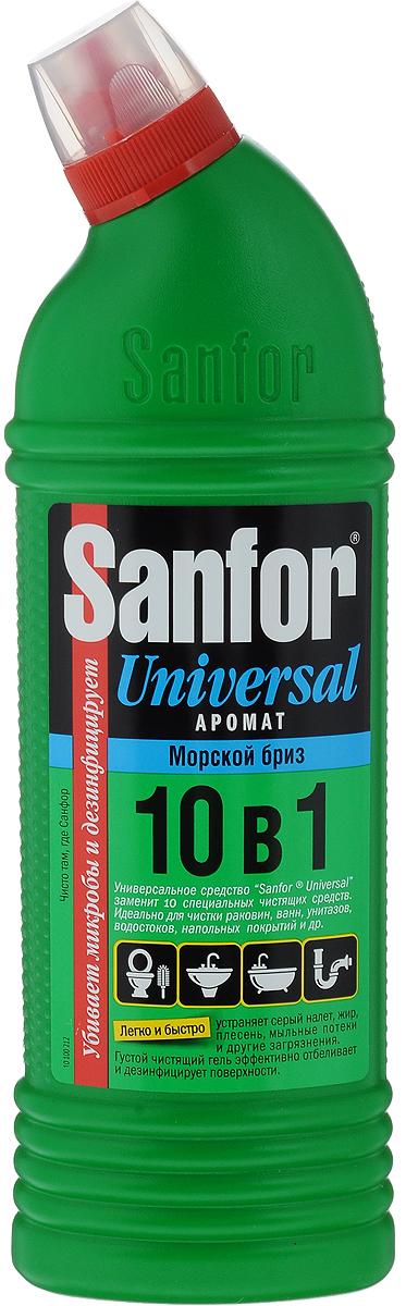 Средство для чистки и дезинфекции Sanfor Universal, 10 в 1, морской бриз, 750 мл4602984004065Sanfor Universal заменит 10 специальных чистящих средств для разных поверхностей и областей применения: легко и быстро отчистит раковины, ванны и душевые кабины, унитазы, сливы и водостоки, керамическую плитку, любые твердые моющиеся напольные покрытия, настенные панели, моющиеся обои, бытовую технику. Подходит для уборки и дезинфекции туалетов для животных. Эффективно устраняет серый налет, плесень, жир, мыльные потеки, въевшиеся пятна от продуктов питания и другие загрязнения. Благодаря загущенной формуле экономичен в расходе. Обеспечивает свежий запах. Обладает антимикробными свойствами. Состав: 5 % или более, но менее 15 % - гипохлорит натрия (калия), менее 5 % - АПАВ и НПАВ, менее 5 %: щелочь, ароматизатор. Товар сертифицирован.
