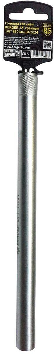 Головка свечная Berger, 12-гранная, 3/8, 250 мм. BG2024BG202412- гранная тонкостенная свечная головка Berger выполнена из высококачественной хромованадиевой стали. Внешний диаметр головки составляет 18 мм. Полиуретановый фиксатор свечи надежно фиксирует головку, позволяет безопасно извлечь свечу из свечного колодца автомобиля.