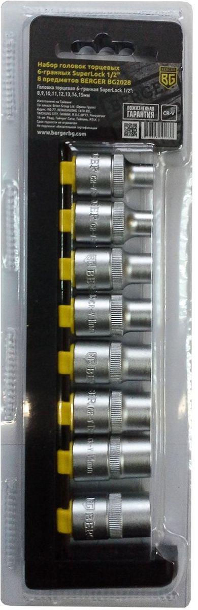 Набор головок торцевых Berger SuperLock, 6-гранных, 1/2, 8 предметов. BG2028BG2028Набор головок торцевых 6-гранных SuperLock 1/2 8 предметов BERGER. 8шт.- головка торцевая 6-гранная SuperLock 1/2: 8,9,10,11,12,13,14,15мм. Выполнен из прочной и качественной хром-ванадиевой стали (CR-V). Упаковка - пластиковый держатель.