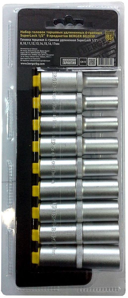 Набор головок торцевых Berger SuperLock, удлинненных, 6-гранных, 1/2, 9 предметов. BG2030BG2030Набор головок торцевых удлиненных 6-гранных SuperLock 1/2 9 предметов BERGER. 9шт.- головка торцевая 6-гранная удлиненная Superlock 1/2: 8,10,11,12,13,14,15,16,17мм. Выполнен из прочной и качественной хром-ванадиевой стали (CR-V). Упаковка - пластиковый держатель.