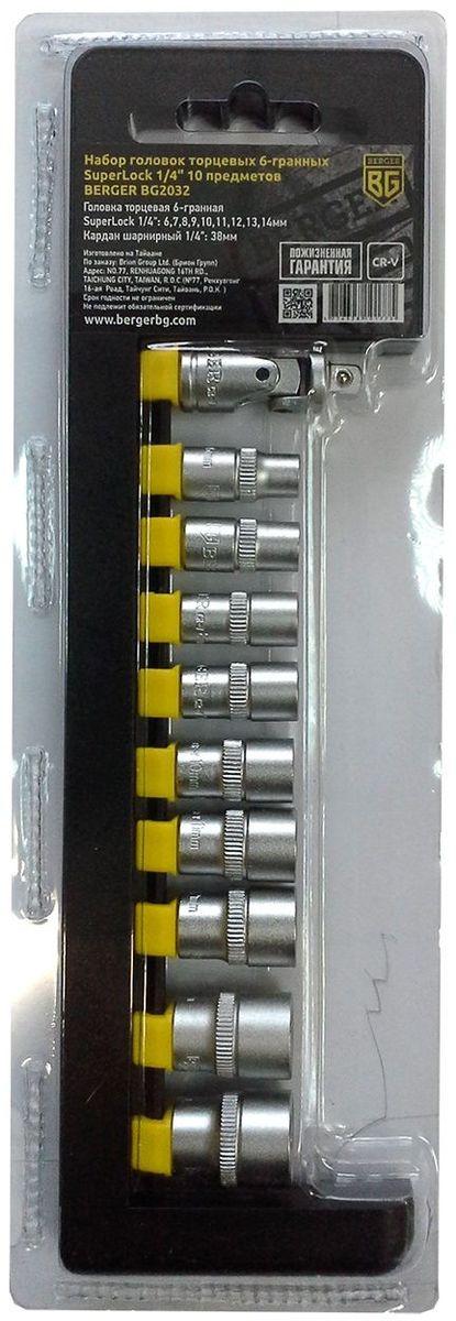 Набор головок торцевых Berger SuperLock, 6-гранных, 1/4, 10 предметов. BG2032BG2032Набор головок торцевых 6-гранных SuperLock 1/4 10 предметов BERGER. 9шт.- головка торцевая 6-гранная Superlock 1/4: 6,7,8,9,10,11,12,13,14мм; 1шт.-кардан шарнирный 1/4: 38мм. Выполнен из прочной и качественной хром-ванадиевой стали (CR-V). Упаковка - пластиковый держатель.