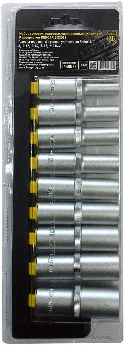 Набор головок торцевых Berger Spline, удлинненных, 1/2, 9 предметов. BG2038BG2038Набор головок торцевых удлинненных Spline 1/2 9 предметов BERGER. 9шт.-головка торцевая 6-гранная удлиненная Spline 1/2: 8,10,12,13,14,15,17,19,21мм. Выполнен из прочной и качественной хром-ванадиевой стали (CR-V). Упаковка - пластиковый держатель.