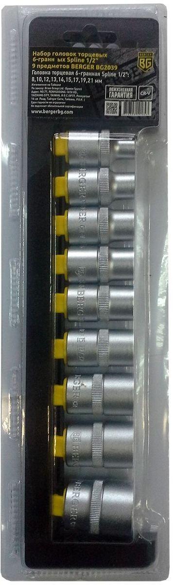Набор головок торцевых Berger Spline, 6-гранных, 1/2, 9 предметов. BG2039BG2039Набор головок торцевых 6-гранных Spline 1/2 9 предметов BERGER. 9шт.-головка торцевая 6-гранная Spline 1/2: 8,10,12,13,14,15,17,19,21 мм. Выполнен из прочной и качественной хром-ванадиевой стали (CR-V). Упаковка - пластиковый держатель.