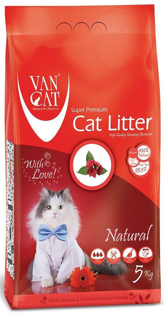 """Наполнитель для кошачьих туалетов Van Cat """"100% Натуральный"""", комкующийся, без пыли, 5 кг 20239"""