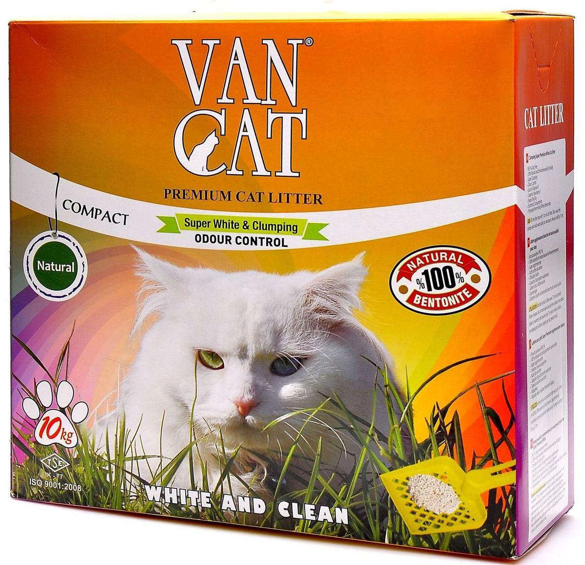 """Наполнитель для кошачьих туалетов Van Cat """"100% Натуральный"""", комкующийся, без пыли, 10 кг. 20241"""