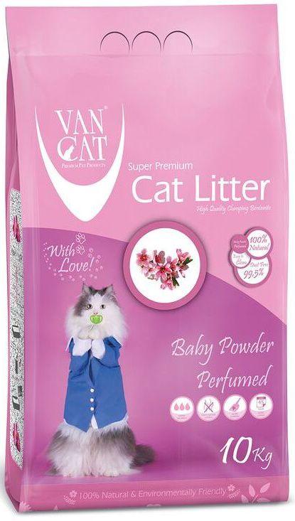 """Наполнитель для кошачьих туалетов """"Van Cat"""", комкующийся, без пыли, с ароматом детской присыпки, 10 кг 20247"""