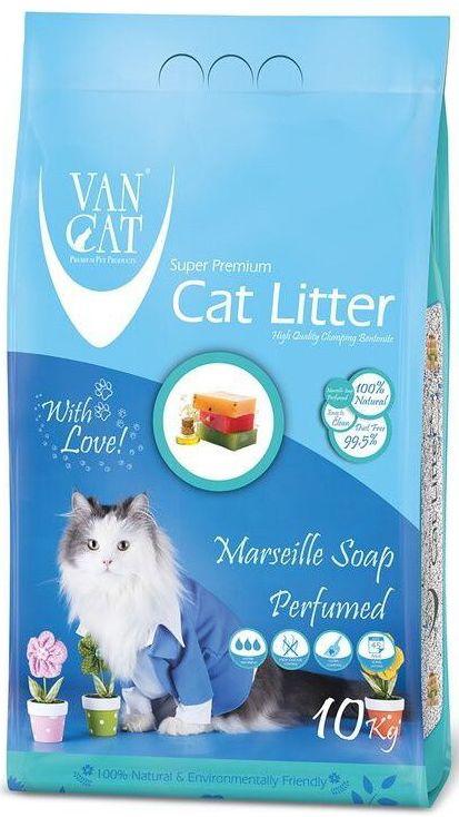 """Наполнитель для кошачьих туалетов """"Van Cat"""", комкующийся, без пыли, с ароматом Марсельского мыла, 10 кг 20640"""