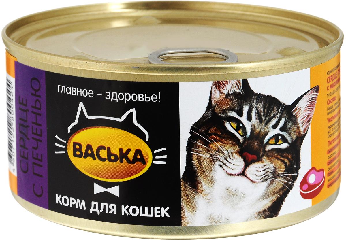 """Консервы для кошек """"Васька"""", сердце, печень и водоросли, 325 г 0424"""