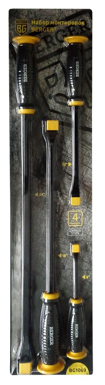 Набор монтировок Berger, 4 предмета. BG1069CA-3505Набор монтировок 4 предмета BERGER. 4 шт. – монтировка: 8, 12, 18, 24. Материал: Углеродный Карбон (Carbon Steel). Блистерная упаковка. Большая резиновая площадка защищает руку при работе с ударным инструментом. Эргономичная резиновая ручка удобно помещается в руке и не скользит при работе. Выполнен из твердой закалённой стали. Квадратный стальной стержень выдерживает высокие нагрузки. Плоский и заостренный наконечник позволяет использовать инструмент в труднодоступных местах.