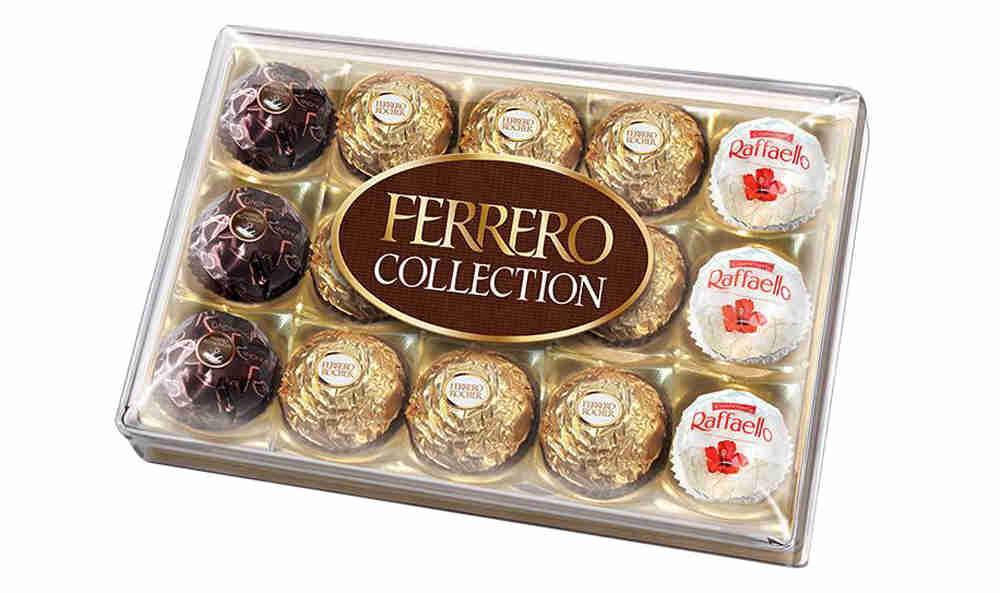 Ferrero Collection набор конфет: Raffaello, Ferrero Rocher, Ferrero Rondnoir, 172,2 г77122267/77099245/77096515Собрание 3 великолепных вкусов Ferrero: сочетание лесного ореха и молочного шоколада в Ferrero Rocher, изысканный рецепт горького шоколада и миндального ореха в Ferrero Rondnoir и совершенный вкус фисташек в Raffaello.