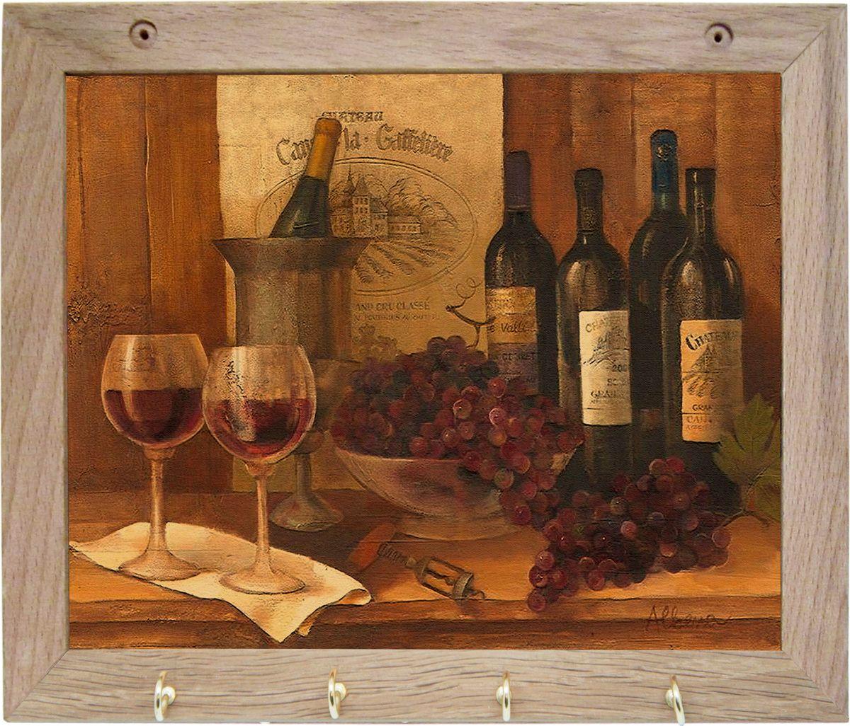Вешалка GiftnHome Винтажные вина, с 4 крючками, 20 х 25 см10503Вешалка GiftnHome Винтажные вина в стиле Art-Casual изготовлена из натурального дерева в комбинации с модными цветными принтами на корпусе от Креативной студии AntonioK. Вешалка снабжена 4 металлическими крючками для подвешивания аксессуаров, полотенец, прихваток и другого текстиля. Это изделие больше, чем просто вешалка, оно несет интерьерное решение, задает настроение и стиль на вашей кухне, столовой или дачной веранде. Art-Casual значит буквально повседневное искусство. Это новый стиль предложения обычных домашних аксессуаров в качестве элементов, задающих стиль и шарм окружающего пространства. Уникальное сочетание привычной функциональности и декоративной, интерьерной функции - это актуальная, современная тенденция от прогрессивных производителей товаров для дома.