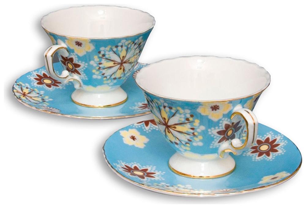 Набор чайный Pavone Антонелла, цвет: голубой, 4 предмета451375Чайный набор Pavone Антонелла, выполненный из высококачественного фарфора, состоит из 2 чашек и 2 блюдец. Предметы набора декорированы изображением цветов. Изделия прекрасно подойдут как для повседневного использования, так и для праздников. Набор Pavone Антонелла - это не только яркий и полезный подарок для родных и близких, но и великолепное дизайнерское решение для вашей кухни или столовой. Объем чашки: 200 мл. Высота чашки: 8 см. Диаметр блюдца: 16 см.
