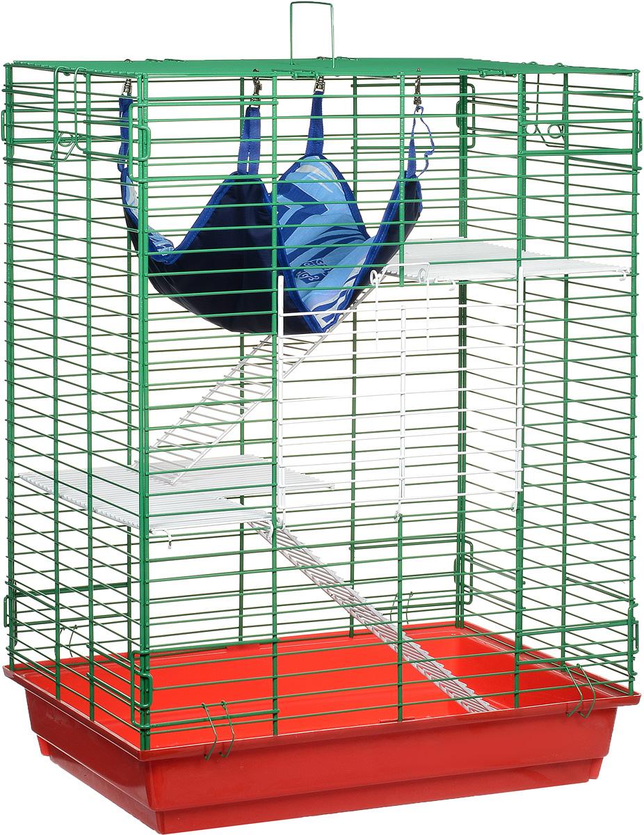 Клетка для шиншилл и хорьков ЗооМарк, цвет: красный поддон, зеленая решетка, 59 х 41 х 79 см. 725жк725жкКЗКлетка ЗооМарк, выполненная из полипропилена и металла, подходит для шиншилл и хорьков. Большая клетка оборудована длинными лестницами и гамаком. Изделие имеет яркий поддон, удобно в использовании и легко чистится. Сверху имеется ручка для переноски. Такая клетка станет уединенным личным пространством и уютным домиком для грызуна.