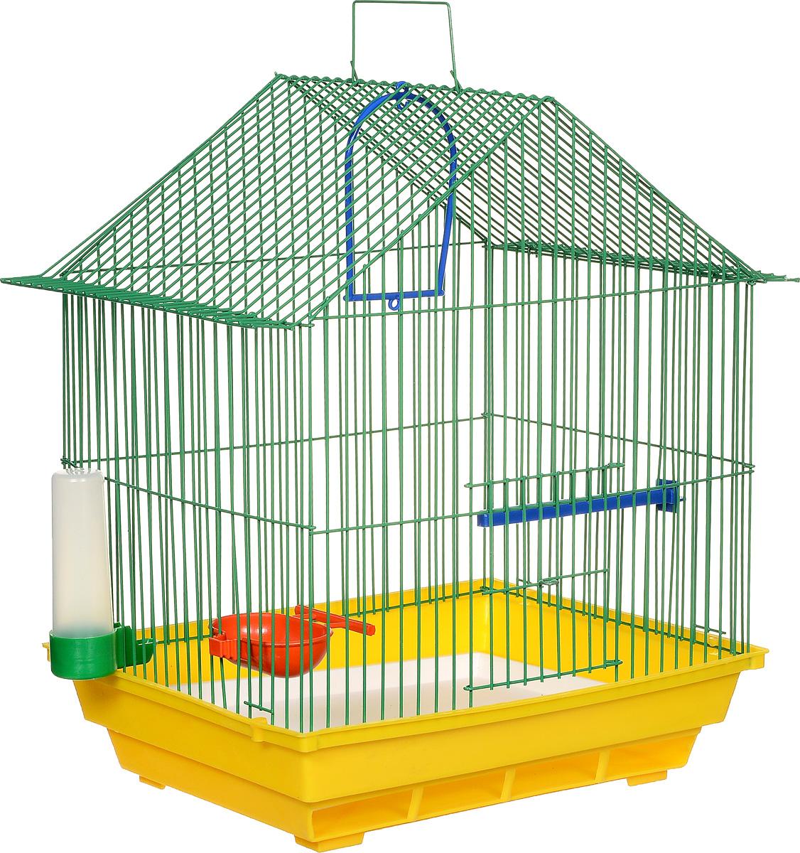 Клетка для птиц ЗооМарк, цвет: желтый поддон, зеленая решетка, 39 х 28 х 42 см410ЖЗКлетка ЗооМарк, выполненная из полипропилена и металла, предназначена для мелких птиц. Изделие состоит из большого поддона и решетки. Клетка снабжена металлической дверцей. В основании клетки находится малый поддон. Клетка удобна в использовании и легко чистится. Она оснащена кольцом для птицы, поилкой, кормушкой и подвижной ручкой для удобной переноски.