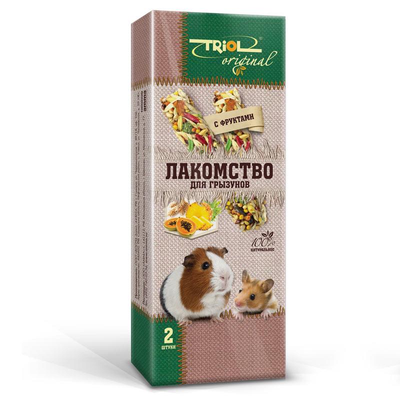 Лакомство для грызунов Triol Original, с фруктами, 2 шт0120710Корма и лакомства Triol Original содержат только натуральные ингредиенты и изготовлены из отборного зерна. Оригинальная рецептура учитывает пещевые потребности вашего пернатого питомца. Сбалансированный и разнообразный состав не только удовлетворяет вкусовым предпочтениям, но и укрепляет здоровье.