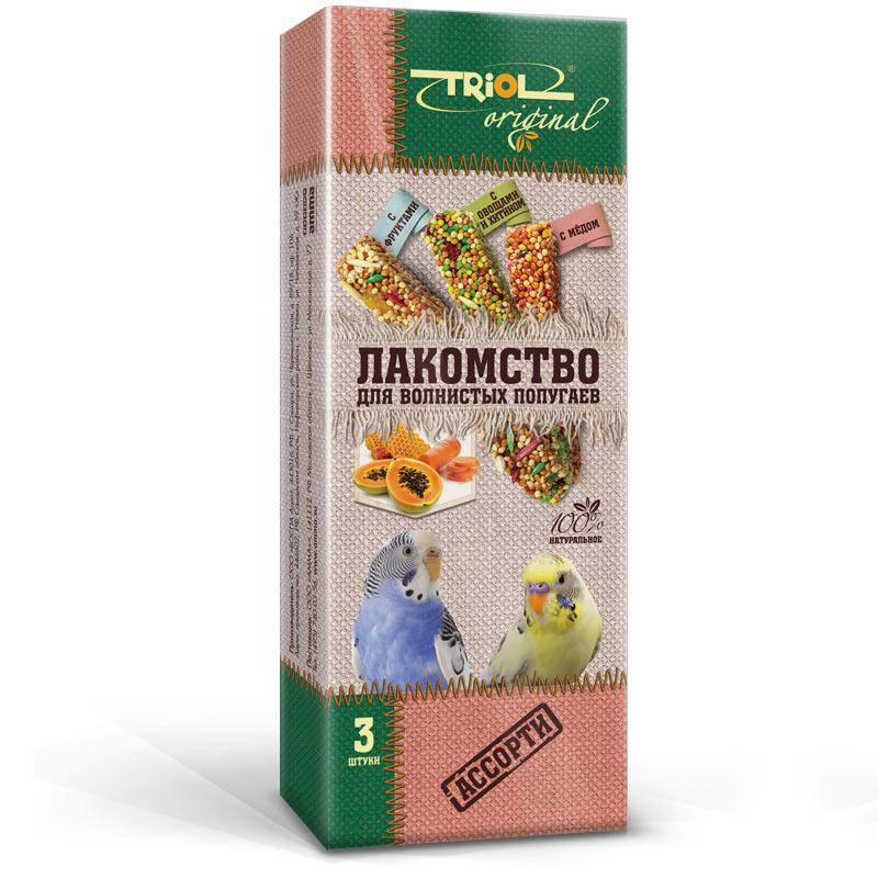 Лакомство для попугаев Triol Original, ассорти, 3 штTF-20800Корма и лакомства Triol Original содержат только натуральные ингредиенты и изготовлены из отборного зерна. Оригинальная рецептура учитывает пещевые потребности вашего пернатого питомца. Сбалансированный и разнообразный состав не только удовлетворяет вкусовым предпочтениям, но и укрепляет здоровье. Лакомство для волнистых попугаев АССОРТИ : в картонной коробке две палочки лакомства (запаяны в полиэтиленовый пакет для сохранения свежести продукта). Лакомство - дополнительное питание и развлечение для Вашего птички, позволяющее также поточить клюв, что необходимо декоративным птицам, живущим в неволе. Вес 2 палочек - 88 г.